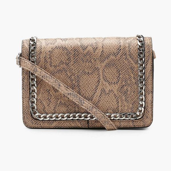 Boohoo Faux Snake And Chain Cross Body in natural - Add attitude with accessories for those fashion-forward...