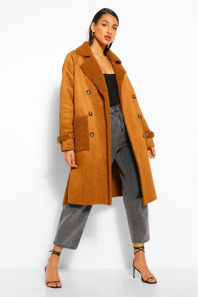 Boohoo Faux Suede Teddy Trim Trench Coat in chocolate