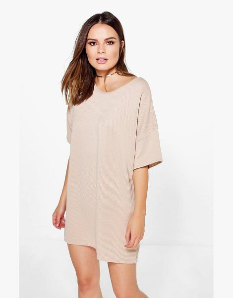 Boohoo Fay Premium Ribbed Oversized Shift Dress in sand - Dresses are the most-wanted wardrobe item for...