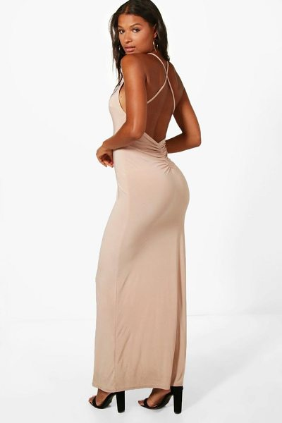 Boohoo Fay Slinky Open Back Ruched Maxi Dress in stone - Dresses are the most-wanted wardrobe item for...