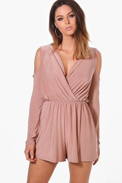 Boohoo Cold Shoulder Slinky Playsuit in mocha - If you need a short cut to a killer outfit, the playsuit...