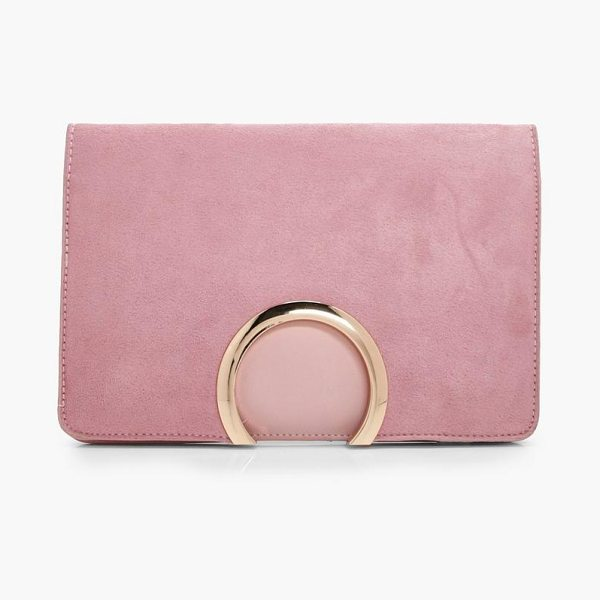 BOOHOO Metal Circle Suedette And PU Mix Clutch - When you need minimal baggage for dancing, go for a cool...