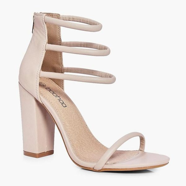 Boohoo Three Strap Ankle Band Block Heels in nude - We'll make sure your shoes keep you one stylish step...