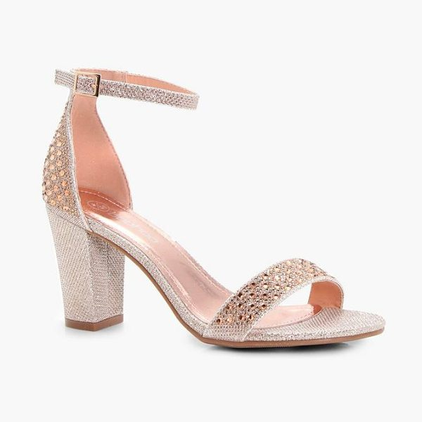 Boohoo Felicity Block Heel 2 Parts in rose gold - We'll make sure your shoes keep you one stylish step...