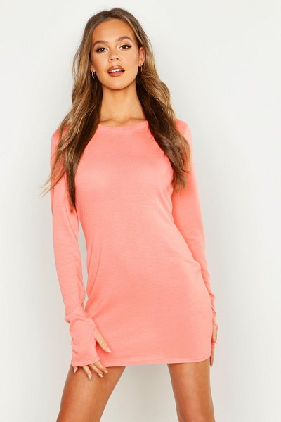 Boohoo Fine Knit Long Sleeve Mini Dress in coral