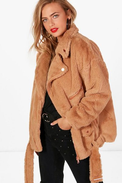 Boohoo Fiona Faux Fur Aviator in camel - Warm up in style and instantly elevate your look with a...