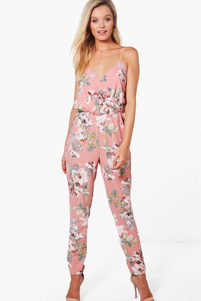 Boohoo Fiona Floral Print Cami Wrap Strappy One Piece in nude - Fiona Floral Print Cami Wrap Strappy Jumpsuit nude