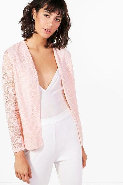 Boohoo Fiona Lace Edge To Edge Blazer in blush - Wrap up in the latest coats and jackets and get...