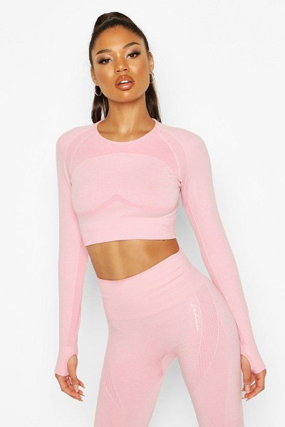 Boohoo Fit Contouring Seamless Long Sleeve Crop Top in pink