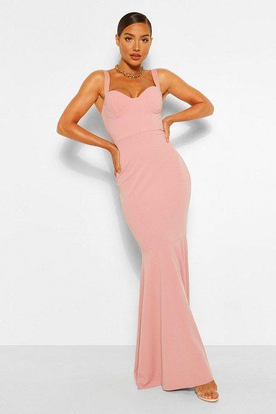 Boohoo Fitted Fishtail Maxi Bridesmaid Dress in blush