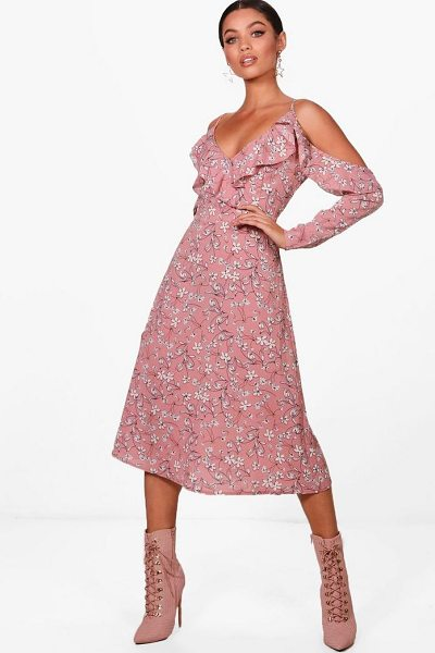 BOOHOO Floral Cold Shoulder Midi Dress in blush - Be seriously on trend this season with your hem line and...