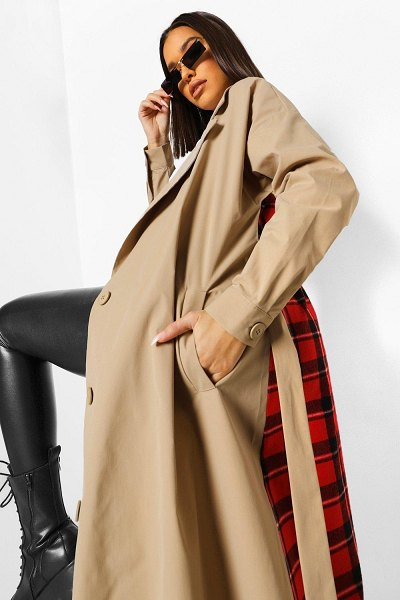 Boohoo Flannel Back Belted Trench Coat in stone