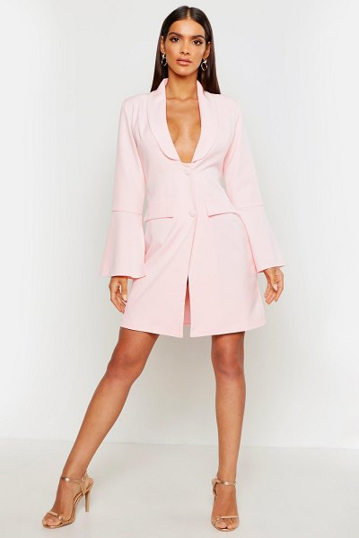 Boohoo Flared Sleeve Plunge Blazer Dress in blush