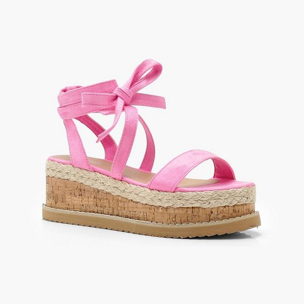 0e066ca61275 Boohoo Flatform Espadrille Tie Up Sandals in pink - We ll make sure your  shoes