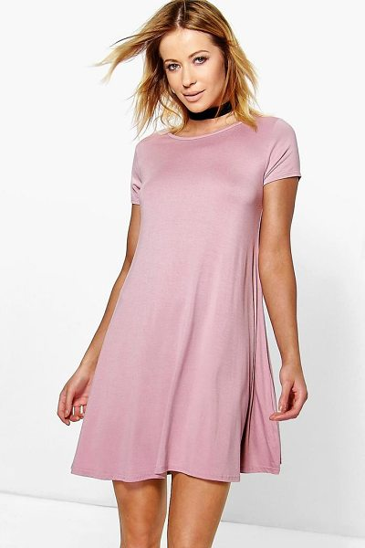 Boohoo Rina Jersey Cap Sleeve Swing Dress in nude - Flattering, versatile, and oh-so-stylish—swing dresses...