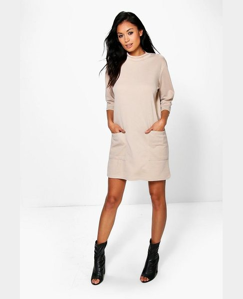 Boohoo Oversized Pocket Front Box Shift Dress in khaki - Dresses are the most-wanted wardrobe item for...