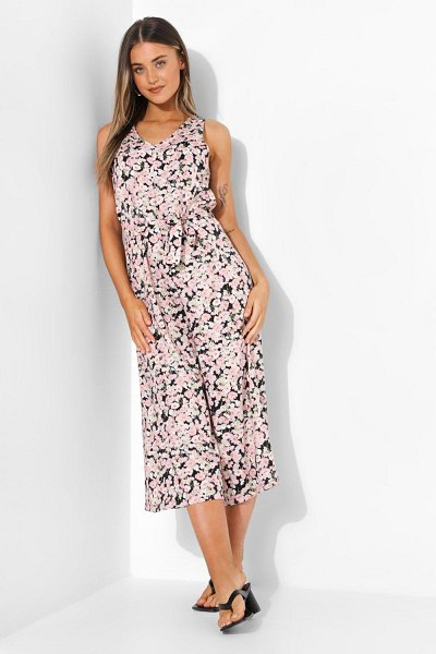 Boohoo Floral Belted Cullotte Jumpsuit in pink