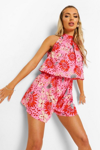 Boohoo Floral High Neck Frill Layered Romper in coral