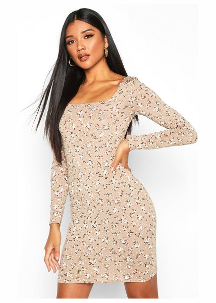 Boohoo Floral Print Long Sleeve Bodycon Dress in stone