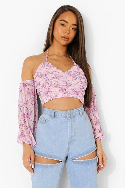 Boohoo Floral Rouche Detail Top in baby pink