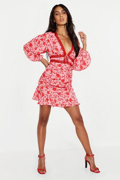Boohoo Floral Ruched Detail Lace Trim Mini Dress in pink