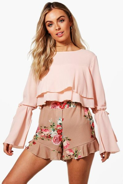 Boohoo Florence Ruffle Hem Floral Shorts in stone - Parade your pins in a pair of shortsA versatile...