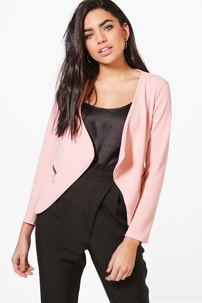 Boohoo Zip Crepe Blazer in nude - Wrap up in the latest coats and jackets and get...