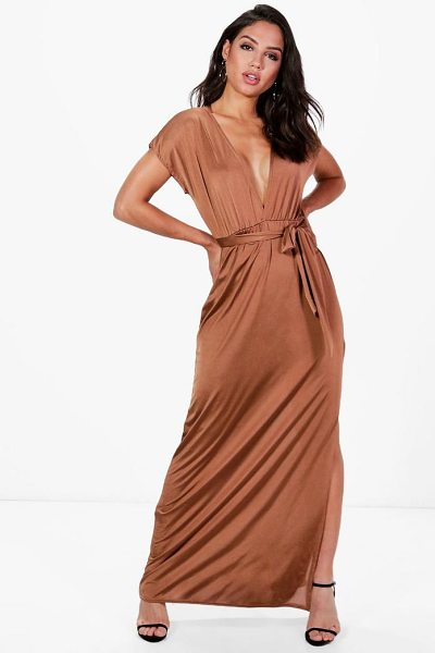 Boohoo Flossie Deep Plunge Tie Waist Maxi Dress in bronze - Dresses are the most-wanted wardrobe item for...