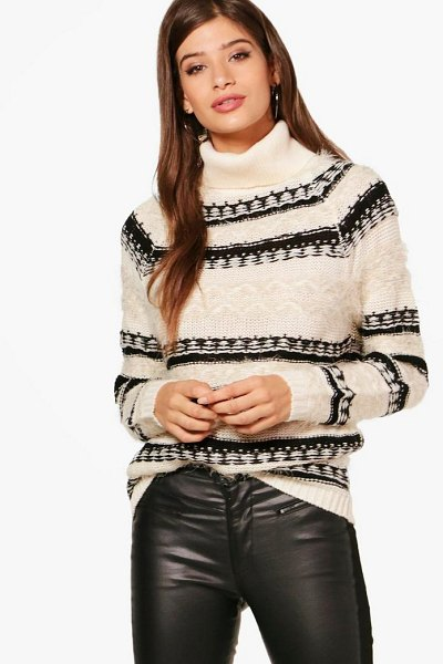 Boohoo Fluffy Intarsia Roll Neck Jumper in ecru - Nail new season knitwear in the jumpers and cardigans...