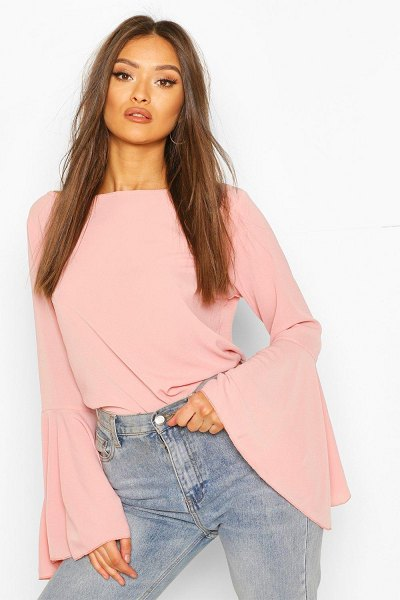 Boohoo Flute Sleeve Crepe Woven Blouse in rose
