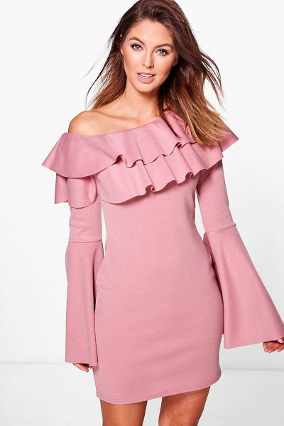 BOOHOO Fran Off One Shoulder Frill Bodycon Dress - Dresses are the most-wanted wardrobe item for...