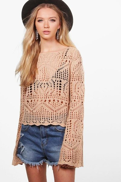Boohoo Francesca Crochet Bell Sleeve Jumper in blush - Nail new season knitwear in the jumpers and cardigans...