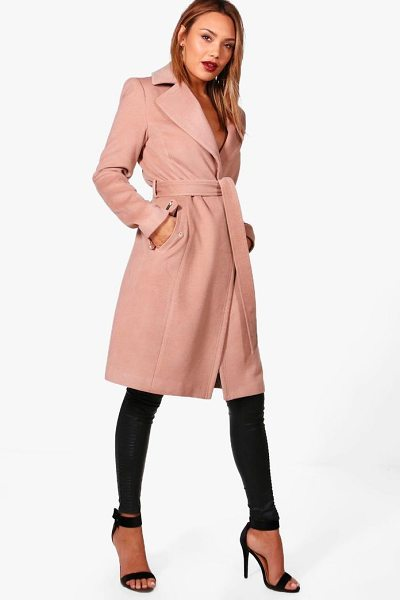 Boohoo Frankie Belted Wool Look Coat With Zip Detail in camel - Wrap up warm in the latest wool look outerwear. A...