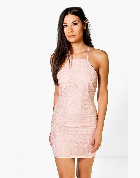Boohoo Frey All Over Lace Cross Back Bodycon Dress in blush - Get dance floor-ready in an entrance-making evening...
