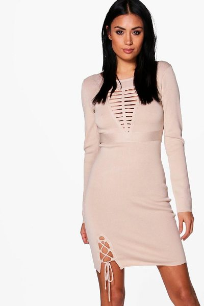 BOOHOO Frey Caged Detail Knitted Dress - Dresses are the most-wanted wardrobe item for...