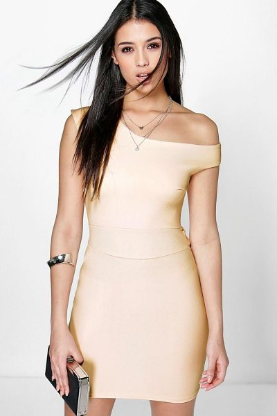 Boohoo Frey Off The Shoulder Tie Waist Bodycon Dress in blush - Dresses are the most-wanted wardrobe item for...
