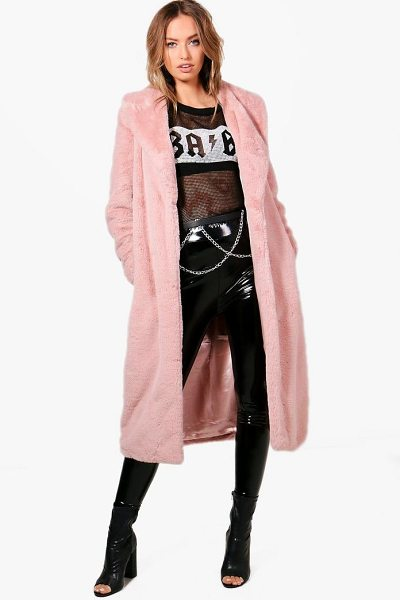 Boohoo Freya Boutique Longline Faux Fur Coat in dusky pink - Wrap up in the latest coats and jackets and get...