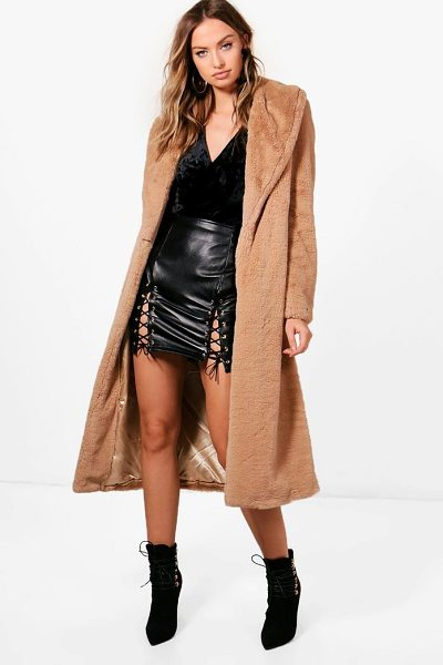 Boohoo Boutique Longline Faux Fur Coat in camel - Wrap up in the latest coats and jackets and get...