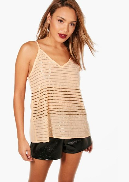 BOOHOO Freya Embellished Stripe Sequin Cami - Steal the style top spot in a statement separate from the...