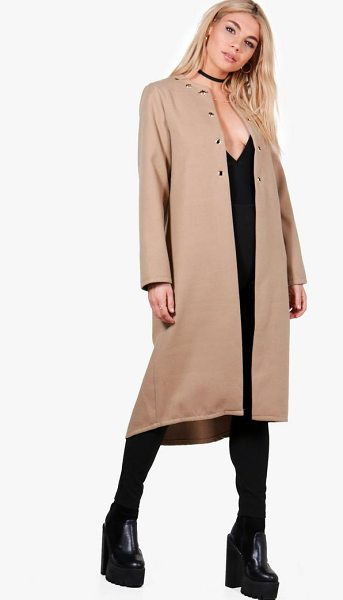 Boohoo Freya Eyelet Detail Wool Look Coat in camel - Wrap up in the latest coats and jackets and get...