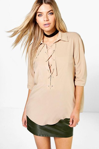 Boohoo Freya Lace Up Shirt in sand - Steal the style top spot in a statement separate from...