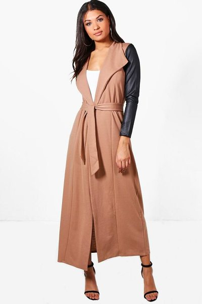Boohoo Freya Maxi PU Sleeve Belted Duster in camel - Wrap up in the latest coats and jackets and get...