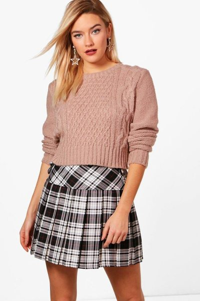 Boohoo Nep Yarn Cable Crop Jumper in beige - Nail new season knitwear in the jumpers and cardigans...