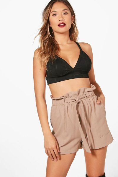 Boohoo Freya Paper Bag Waist Tailored Shorts in camel - Parade your pins in a pair of shortsA versatile...