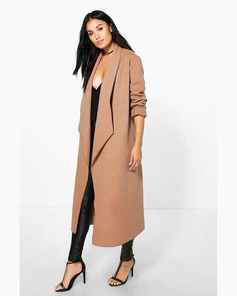 Boohoo Freya Waterfall Wool Look Duster in camel - Wrap up warm in the latest wool look outerwear. A...