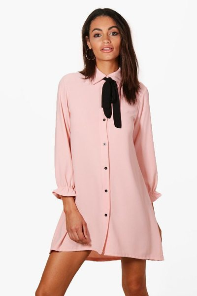 Boohoo Freya Woven Scarf Shirt Dress in pink - Dresses are the most-wanted wardrobe item for...