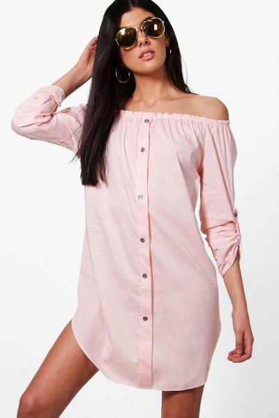 Boohoo Freyja Button Front Off Shoulder Cotton Sundress in pink - Dresses are the most-wanted wardrobe item for...