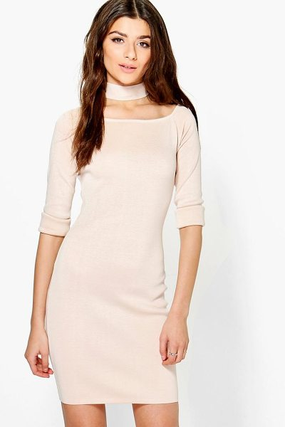 Boohoo Freyja Choker Knit Dress in camel - Dresses are the most-wanted wardrobe item for...