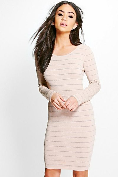 BOOHOO Freyja Ribbed Long Sleeve Bodycon Knit Dress - Dresses are the most-wanted wardrobe item for...