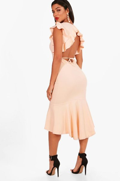 Boohoo Frill Detailing Open Back Flute Hem Midi Dress in blush - Dresses are the most-wanted wardrobe item for...